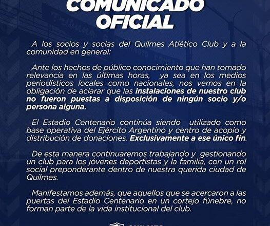 COMUNICADO OFICIAL DEL QUILMES ATLÉTICO CLUB